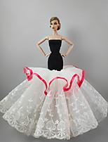 Недорогие -Платья Платье Для Кукла Барби Белый Лён/Хлопок Кружево Платье Для Девичий игрушки куклы