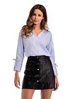 cheap -Women's Work Business Simple Cotton Loose Shirt - Striped Shirt Collar
