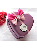 cheap -Heart-Shaped Iron(nickel plated) Favor Holder with Satin Bow Pattern / Print Favor Boxes - 1pc