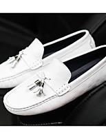Недорогие -Муж. обувь Кожа Весна Осень Удобная обувь Мокасины и Свитер для Повседневные Белый Черный Коричневый Синий