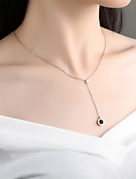 cheap -Women's Cubic Zirconia Rhinestone Rose Gold Pendant Necklace - Simple Elegant Drop Necklace For Wedding Evening Party