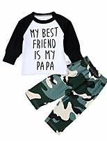 Недорогие -малыш Универсальные Набор одежды Повседневные Спорт Хлопок С принтом Весна Осень На каждый день Активный Военно-зеленный