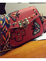 cheap -Women's Bags PU Shoulder Bag Buttons Pattern / Print for Casual Spring Fall Green Black Red Gray