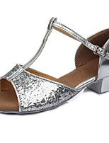 "cheap -Children's Latin Paillette Leatherette Sandal Heel Training Buckle Paillette Chunky Heel Silver 2"" - 2 3/4"" Customizable"