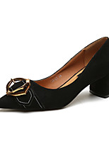 cheap -Women's Shoes Cashmere Spring Comfort Heels Chunky Heel Pointed Toe for Casual Black