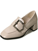 cheap -Women's Shoes PU Spring Comfort Heels Chunky Heel Square Toe for Casual Black Beige Brown