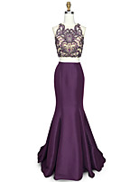 cheap -Mermaid / Trumpet Scalloped Satin Satin Chiffon Graduation Prom Dress with Beading Crystal Detailing by TS Couture®
