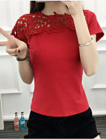 cheap -Women's Slim T-shirt - Solid, Lace Crew Neck