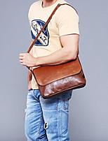cheap -Men's Bags PU Shoulder Bag Zipper for Casual Office & Career Spring Fall Black Coffee