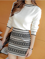cheap -Women's Daily Simple Round Neck Skirt Long Sleeves Spring Summer
