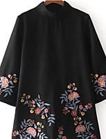 preiswerte -Damen Alltag Freizeit A-Linie Mini Kleid, Grundlegend Volltonfarbe Rundhalsausschnitt Halbe Ärmel