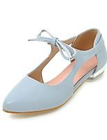 baratos -Mulheres Sapatos Courino Primavera Verão Conforto Rasos Salto Robusto Dedo Apontado para Casual Branco Rosa claro Azul Claro