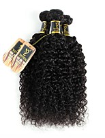 cheap -Brazilian Hair Kinky Curly Human Hair Weaves 3pcs Natural Color Hair Weaves