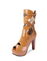 Недорогие -Жен. Обувь Лакированная кожа Весна Лето Модная обувь Ботинки Высокий каблук Открытый мыс Сапоги до середины икры Пряжки для Повседневные