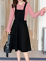 cheap -Women's Daily Going out Casual Round Neck Dress Long Sleeves Spring Fall