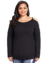 cheap -Women's Daily Holiday Sexy Fall T-shirt, Solid Round Neck Long Sleeves Polyester Spandex