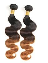 abordables -Cheveux Brésiliens Ondulation naturelle Cheveux Rémy A Ombre Tissages de cheveux humains Noir / Moyen Marron / Blond Fraise