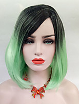 cheap -Synthetic Wig Straight Bob Haircut With Bangs Density Capless Green Cosplay Wig 13cm(Approx5inch) Synthetic Hair
