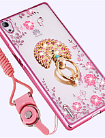 cheap -Case For Huawei Shockproof Rhinestone Ring Holder Back Cover Flower Soft Silicone for Huawei P7