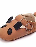 cheap -Girls' Shoes Leatherette Spring Fall Crib Shoes First Walkers Comfort Flats Bowknot Magic Tape for Casual Outdoor Beige Brown