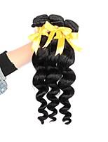 Недорогие -3 предмета Черный Свободные волны Бразильские волосы Ткет человеческих волос Наращивание волос 0.15kg