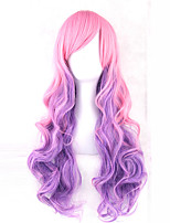 cheap -women synthetic wig capless long wavy pink purple with bangs cosplay lolita wig