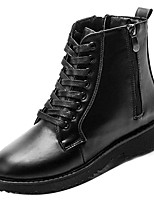 cheap -Women's Shoes PU Spring Combat Boots Boots Flat Heel Round Toe for Casual Black