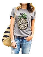 abordables -Tee-shirt Femme Quotidien simple Eté Manches Courtes Col Arrondi Polyester