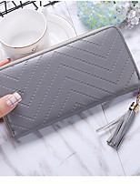 cheap -Women's Bags PU Wallet Zipper for Casual All Seasons Black Red Blushing Pink Gray Fuchsia