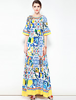 cheap -Women's Plus Size Boho Loose Dress - Floral Color Block, Basic Maxi