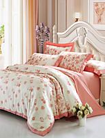 preiswerte -Bettbezug-Sets Blumen 4 Stück 100% Baumwolle Baumwolle Jacquard Jacquard 100% Baumwolle Baumwolle Jacquard 1 Stk. Bettdeckenbezug 2 Stk.
