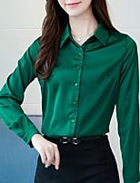 cheap -Women's Work Polyester Shirt - Solid Shirt Collar