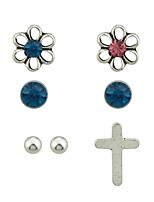 cheap -Women's 7pcs Stud Earrings , Rhinestone Casual Fashion Imitation Tourmaline Alloy Cross Circle Flower Jewelry Daily Date Costume Jewelry