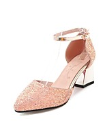 cheap -Women's Shoes Sparkling Glitter Spring Summer Ankle Strap Heels Chunky Heel Pointed Toe Buckle for Casual Party & Evening White Black Pink