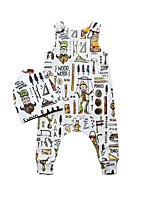 cheap -Baby Unisex Sports School Print One-Pieces,Cotton Spring Summer Simple Cute Sleeveless Beige