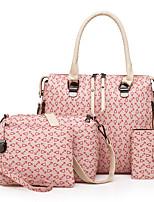 cheap -Women's Bags PU Bag Set 4 Pieces Purse Set Pattern / Print Zipper for Casual Office & Career All Seasons Blue White Black Blushing Pink