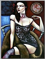 cheap -Oil Painting Hand Painted - People Classic Canvas