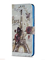 Недорогие -Кейс для Назначение SSamsung Galaxy S9 S9 Plus Бумажник для карт Кошелек со стендом Флип Магнитный Чехол Эйфелева башня Твердый Кожа PU