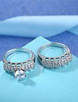 cheap -Women's Band Ring Cubic Zirconia Rhinestone 2pcs Vintage Elegant Silver Circle Costume Jewelry Wedding Engagement Ceremony