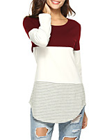 cheap -Women's Going out Simple Active T-shirt - Striped Color Block