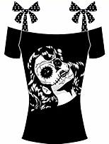 cheap -Women's Holiday Going out Boho Summer T-shirt,Polka Dot Print Boat Neck ½ Length Sleeve Cotton