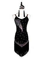 cheap -Latin Dance Dresses Women's Performance Velvet Chiffon Crystals/Rhinestones Sleeveless Dress