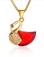 cheap -Women's Onyx Crystal Cubic Zirconia Zircon Gold Plated Pendant Necklace - Asian Elegant Necklace For Wedding Daily