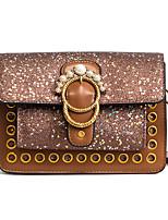 cheap -Women's Bags PU Shoulder Bag Buttons for Shopping Casual All Seasons Blue Black Gray Brown