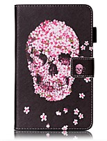 cheap -Case For Samsung Galaxy Tab 4 7.0 Card Holder Wallet with Stand Pattern Auto Sleep/Wake Up Full Body Cases Skull Hard PU Leather for Tab