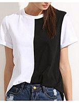 cheap -Women's Polyester T-shirt - Color Block