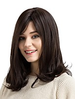 cheap -Synthetic Wig Natural Wave Side Part Layered Haircut Capless Brown Natural Wigs