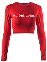 cheap -Women's Daily Sports Sexy Street chic Spring Fall T-shirt,Letter Round Neck Long Sleeve Cotton Spandex