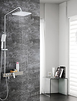 cheap -Contemporary Wall Mounted Rain Shower Handshower Included Ceramic Valve Two Handles Two Holes Chrome, Shower Faucet