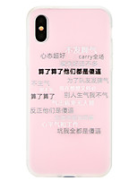 cheap -Case For Apple iPhone X iPhone 8 Pattern Back Cover Word / Phrase Soft TPU for iPhone X iPhone 8 Plus iPhone 8 iPhone 7 Plus iPhone 7